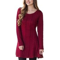 [15263] Cable Knit Sweater Dress