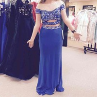 blue 2 piece prom dress($ 350) - Mercari: Anyone can buy & sell