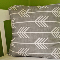 "Grey Arrow Pillow Case - Pillow Sham - 16""x16"" or 18""x18"""