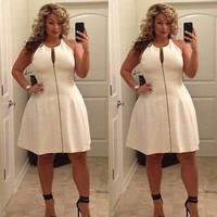2016 Hot New Sexy Women Plus Size Casual Bandage Bodycon Evening Party Zipper Dress 6-22