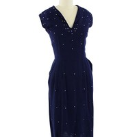50's Rhinestone Studded Navy Blue Pencil Dress