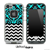 Mirrored Turquoise V2 Chevron Pattern Skin for the iPhone 5 or 4/4s LifeProof Case
