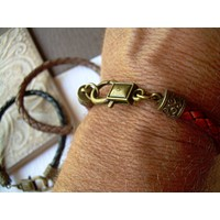 Mens Braided Leather Bracelet with Antique Bronze Hardware, Mens Bracelet, Mens Jewelry, Fathers Day Gift, Leather Jewelry, Leather Bracelet