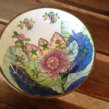 Jewelry Trinket Dish, Floral Bowl, Small Decorative Bowl, Vintage Chinese Asian Decor, Floral Home Accent Bowl, Asian Decorative Small Tray