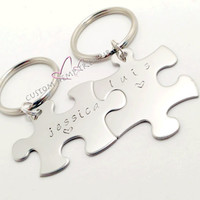 Couples Keychains, Puzzle Piece Keychains, name Keychains, personalized Keychains, FREE US SHIPPING