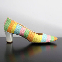 pastel rainbow pumps - 60s vintage cloudhoppers striped woven straw leather low heels pointed toe spring summer easter retro mod shoe size 6