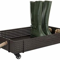 MyGift 26-Inch Industrial Brown Metal Rolling Boot Cart