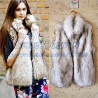 Lady Autumn/Winter Faux Fur Vest Warm Jacket Top WinterwearWaistcoat Vest Coats Wrap sleeveless Jacket Coat Fashion  Clothes WT21