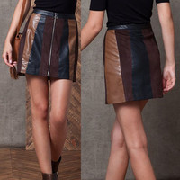 Color Block PU Leather Skirt
