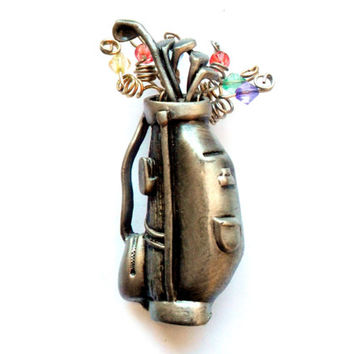 Golf Bag Brooch Vintage Silver Tone Beaded Whimsy Whimsical Unique Fun Gift Pewter Gold Golf Club