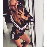 GIVENCHY BALENCIAGA Classic Popular Women Casual Print Hoodie Short Sleeve Top Shorts Set Two Piece Sportswear
