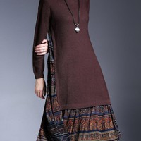 Miting Vintage Patchwork Women Knitted Dresses