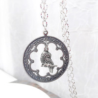 Boho Jewelry - Fancy Owl Pendant - Owl Necklace - Bird Jewelry - Antique Silver - Vintage Style