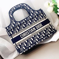 DIOR Retro Popular Women Shopping Bag Canvas Handbag Tote Satchel