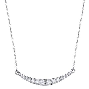 10k White Gold Round Diamond Curved Bar Pendant Necklace 1 Cttw
