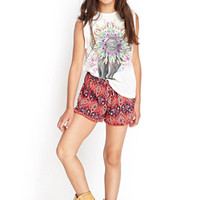 FOREVER 21 GIRLS Ruffled Paisley Drawstring Shorts (Kids) Navy/Tomato
