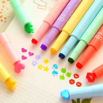 x6 Pcs Color painting pen Stamp, 6 Cute Pens, love seal, Lips Stamp, Rainbow Pens,  water color pens L5
