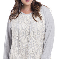 Plus Size Lace Front Hoodie