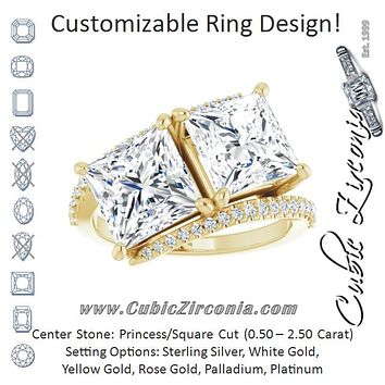 Cubic Zirconia Engagement Ring- The Nellie (Customizable Double Princess/Square Cut 2-stone Design with Ultra-thin Bypass Band and Pavé Enhancement)