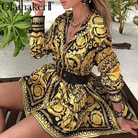 Gold and Black Paisley Vintage V Neck Blouse Dress