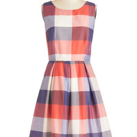 Bea & Dot Scholastic Mid-length Sleeveless A-line Chalk of the Town Dress in Plaid