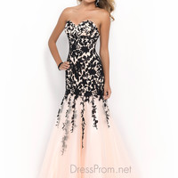 Blush Mermaid Lace Prom Gown 9920