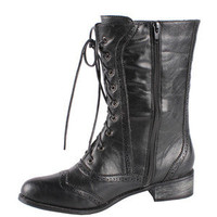 Black Oxford Combat Boots Lace Up Military Fashion Trend Preppy New Mid Calf