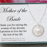 Gift for Mother of the Bride gift from groom Sterling silver pearl necklace Thank you for raising the woman of my dreams, wedding party gift