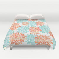 aqua and coral flowers Duvet Cover by Sylvia Cook Photography