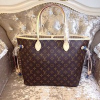LV Tide brand classic old flower shopping bag mother bag two-piece Coffee print