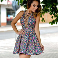 New Fashion Women Sexy Bandage Deep V-neck Print Sleeveless Short Dress = 5617120385