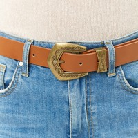 Faux Leather Etched-Buckle Hip Belt