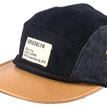 Brooklyn Hat Co Chambray and Denim Pannel Cap