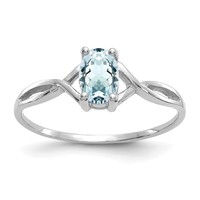 14k White Gold Genuine Aquamarine March Birthstone Ring