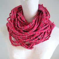 Rose Striped Infinity Loop Scarf Upcycled Pink Cowl Scarf Eco Friendly Winter Accessories Gifts Under 75 Black Friday Etsy Cyber Monday Etsy