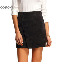 COLROVE Brand Fashion Style New Female Clothing Skirts Womens Vintage Hot Sale Black Buttons Above Knee Formal Skirt