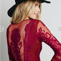 YZ Red Long Sleeve V Neck Hollow Lace Sexy Dress