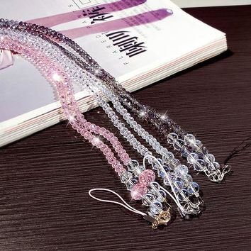 Fashion Crystal And Pearls Mobile Phone Holder Lanyard Strap Rope Necklace