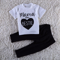 Mama Is My Bestie Print Baby Girl/Boy Cotton Short Sleeve and Pants Set