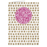 Happy Birthday purple and gold dots pattern Card