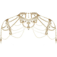 Gold tone pearl and crystal cape necklace