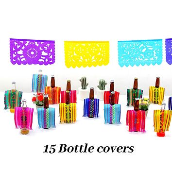 Fiesta Bottle Covers for Cinco de Mayo, Set of 15, Fiesta decoration, BCC90
