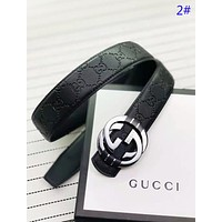 GUCCI New fashion GG Letter human head buckle more letter leather couple belt 2#