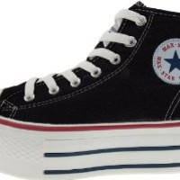 Maxstar Women's C50 7 Holes Zipper Platform Canvas High Top Sneakers Black 9 B(M) US
