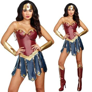 Halloween 2018 Wonder Woman Costume Gal Gadot Fantasia Party Cosplay Bodysuit Plus Size S-2XL