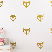 Fox Face Wall Decals - Unique Vinyl Decal Set, Nursery Decals, Gold Wall Decals, Nursery Decor, Cute Woodland Nursery Stickers