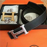 #HERMES Reversible Men's Black Belt With Double 2H Golden-Sliver Buckle