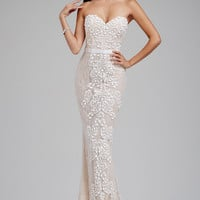 Ivory/Nude Sweetheart Beaded Lace Prom Dress 99289