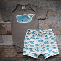 Whales, Organic Baby Boy Clothes, Bodysuit and short set, Baby Leggings, Baby Set, Newborn Outfit, Baby Boy Clothes, Going Home Outfit