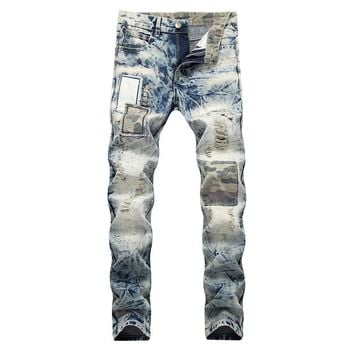 Slim Ripped Holes Camouflage Men Denim Jeans [1574710313053]